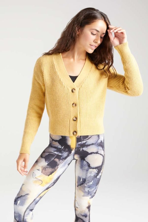 BAM1359-Womens-Cropped-Cardi-Yellow-Harvest-Marl-Bamboo-Clothing-2-600×900