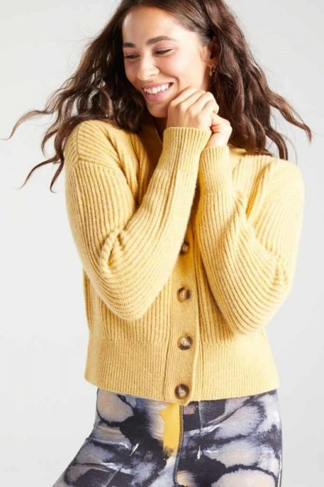 BAM1359-Womens-Cropped-Cardi-Yellow-Harvest-Marl-Bamboo-Clothing-3-600×900
