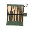 Sustainable Bamboo Utensils Bamboo Cutlery Set Reusable Knives, Forks, Spoons, Biodegradable Straws Chopsticks Zero Waste